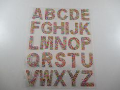 Alphabet Strass, Stickers, Autocollants, Strass, Coloris Multicolore, rouge ou argenté.