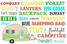 Summer Camping Theme Word Art with Vintage Trailer FREE Printable ~ Creative Cain Cabin