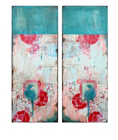 """Forever Yours I and II,"" diptych, 40 x 16"" each www.kathefraga.com Kathe Fraga paintings 2014 Inspired by vintage Paris and Chinoiserie ancienne"
