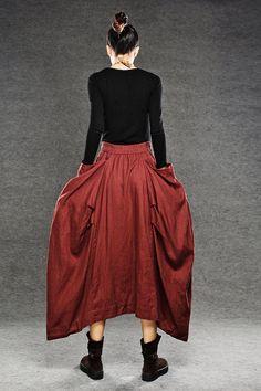 Maxi skirt Long skirt in red  linen skirts