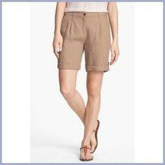 Today Recommend - Eileen Fisher Cuff Linen Shorts (Regular & Petite) Driftwood 6