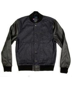 Upgrade your varsity jacket with this Mr. *Varsity (Raw Indigo Denim) from Mister #poachit