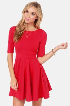 Check it out from Lulus.com! This knit is going national! Every house should have a Black Swan Olivia Cherry Red Skater Dress, with its thick stretch knit in bright red, flattering boat neckline, and fitted half sleeves. Darted bodice and flared skirt meet in the middle at a banded waistline. Unlined. Model is wearing a size X-Small. 76�0Polyester, 19�0Nylon, 5�0Spandex. Hand Wash Cold. Imported.