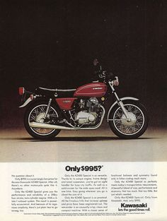 """An original full size 1976 Kawasaki advertisement featuring the KZ-400 model. Photo print of this motorcycle and its low price. """"Only $995?"""" -A vintage 1976 Kawasaki motorcycle advertisement -Measures"""
