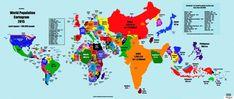 人口の多さで世界地図を描き変えたらこうなった(画像)