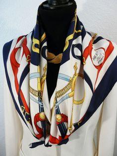 Authentic Vintage Hermes Silk Scarf Eperon d Or by Henri d Origny Red  White. Carre de Paris 52a76c851dc