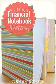 Keep track of essential budget information in a financial notebook. Gives you a current snapshot of your entire finances!
