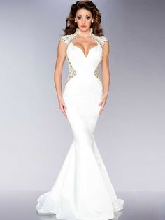Sexy Floor-Length V-Neck Trumpet/Mermaid Beading White Evening Dress