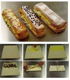 how to make puff pastry Bakery Recipes, Dessert Recipes, Cooking Recipes, Breakfast Pastries, Sweet Pastries, Puff And Pie, Puff Pastry Recipes, French Desserts, Weird Food
