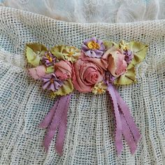Antique French Silk Picot Ombre Ribbons Ribbonwork Piece | eBay