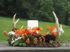 Real deer antler centerpiece is custom made to your request and can be filled with beautiful silk or dried flowers, berries and other items and