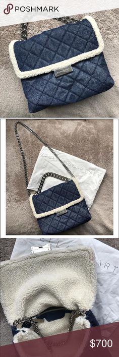 Stella Mccartney Becks Denim CrossbodyBag Mint condition , purchased last year for 1250$ Medium size Becks Denim bag with faux shearling inside. Beautiful bag, can be worn 3 ways. Comes with dustbag Stella McCartney Bags Crossbody Bags