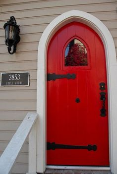 I love RED DOORS...paint your front door a color-- easy fix for attracting some curb appeal