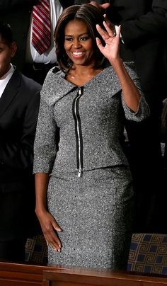 Michelle Obama Makes a Fashion Statement in Gray Tweed at the State of the Union Address  #InStyle