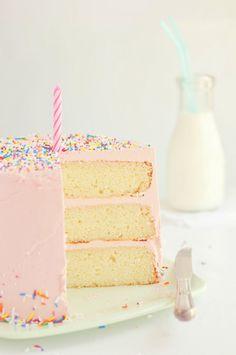Love, Cake & Sprinkles via Sweetapolita pink vanilla cake Pretty Cakes, Beautiful Cakes, Amazing Cakes, Pink Vanilla, Bolo Sofia, Pink Birthday Cakes, Pink Cakes, Simple Birthday Cakes, 2nd Birthday Cake Girl