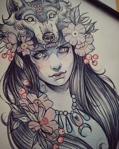 The original sketch for the tattoo I started on the weekend. #art #tattoo #girl #wolf #cowl #illustration #draw #flower #neotraditional #sketch #chronicink