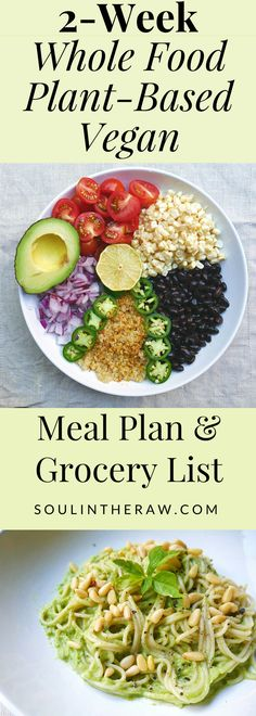 This amazing 2-week vegan meal plan is packed with delicious whole food plant based recipes and vegan recipes for breakfast, lunch, dinner and snack and also includes a vegan grocery list. These are my go-to most favorite recipes, and I know you will love them too!