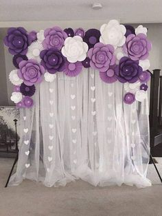 Paper Flowers Set of Paper flowers for baby nursery,Birthday Party Decor, Baby Shower decor, Photo backdrop decor Stage Decorations, Birthday Party Decorations, Baby Shower Decorations, Flower Decorations, Wedding Decorations, Birthday Parties, Purple Party Decorations, Purple Wedding Centerpieces, Baby Birthday