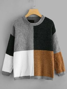 To find out about the Drop Shoulder Color Block Sweater at SHEIN, part of our latest Sweaters ready to shop online today! Cute Sweaters For Fall, Color Block Sweater, Mode Outfits, Sweater Weather, Knitwear, Knit Crochet, Autumn Fashion, Creations, Men Sweater