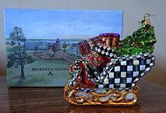 NIB-MacKenzie-Childs-ST-NICK-S-SLEIGH-Glass-Ornament-Made-in-Poland
