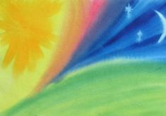 Waldorf ~ grade ~ Old Testament ~ Creation Story ~ Sun, Moon and Stars ~ watercolor painting Waldorf Montessori, Waldorf Kindergarten, Grade 3, First Grade, Third Grade, Rudolf Steiner, Wet On Wet Painting, Math Blocks, Days Of Creation