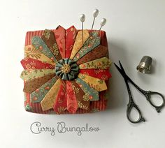 Dreamy Dresden Pincushion Filled with Crushed Walnut Shells