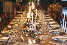 gold table setting, photo by Vue Photography