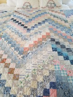 Soft scrappy quilt by Lauren Applebee Levant,Maine
