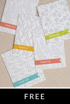Mod Botanical Thank You Card and other free card downloads.