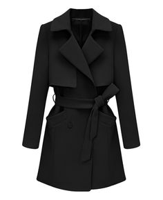 Belted Solid-color Md-long Trench Coat