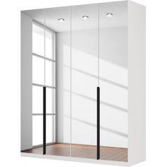 Gezien op beslist.nl: Draaideurkast Skøp I - alpinewit/kristalspiegel - 181cm (4-deurs) - 222cm - Basic, SKØP