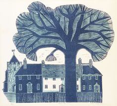 Village Street (No.1 - blue) 19/75 by Robert Tavener