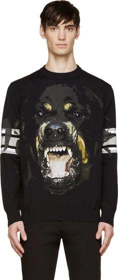 Givenchy - Black Rottweiler Striped Sleeve Sweatshirt