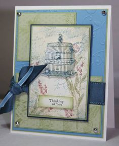 Stamps: Nature Walk, Silhouette Sentiments  Paper: Very Vanilla, Pear Pizazz, Marina Mist, Night of Navy, Botanical Gazette SU DSP  Ink: Black, Night of Navy, Pear Pizazz, Cherry Cobbler, Tea Stain, Azul Stain  Accessories: Silver brads, SU ribbon in Navy and Marina Mist  Techniques: Embossing, Distressing, Dry Emsossing