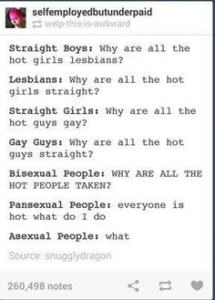 """Pansexuals: """"everyone is hot what do I do"""" BAHAHAHA"""