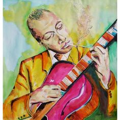 Encre de couleur de Chenel, Titre : Django Reinhardt, Format : 50 x 50 cm