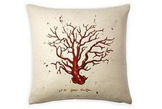 Red Coral 20x20 Pillow, White/Red