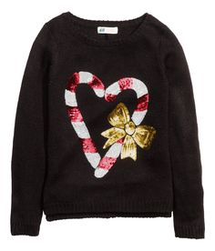 Show them some holiday love with this sequin candy cane sweater. | H&M Kids