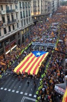 La manifestación de la Diada vista por los lectores (Estelada blava, bandera independentista catalana.)