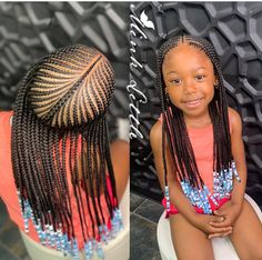 Braids for Kids- 50 Kids Braids with Beads Hairstyles Black Girl Hairstyles For Kids Beads Braids Hairstyles Kids Little Girl Braid Styles, Kid Braid Styles, Little Girl Braids, Black Girl Braids, Braids For Black Hair, Hair Styles, Twist Styles, Cornrow Styles For Kids, Black Kids Hairstyles