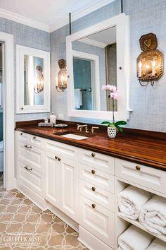 Antiqued Sapele Mahogany wood counter designed by Michael Mortenson of Palmer Todd Counter Design, Kitchen Design, Bathroom Renos, Bathroom Ideas, Bath Ideas, Master Bathroom, Bathrooms, Wood Chopping Board, Butcher Block Countertops