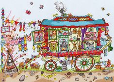 Cut Thru gypsy wagon cross stitch - Bothy Threads