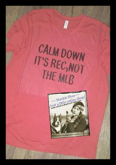 """I Loved this one so much, I made one for myself!  :) CALM DOWN IT'S REC, NOT THE MLB! We made this on a Red Triblend V-Neck but you can get it on any color!  Super comfy, soft shirts!!!    *Delivery customers use code """"deliver"""" to waive shipping* Order HERE:  http://www.mackieshaeboutique.com/apps/webstore/products/show/6964583 #mackieshae #custom #est1997"""