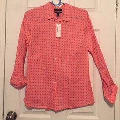 J. Crew button down bright coral navy pattern Never worn with tags. Lovely color coral with white and navy pattern. J. Crew Tops Button Down Shirts