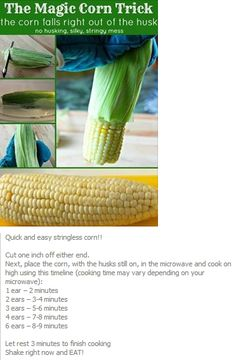 .Microwave corn on the cob!!