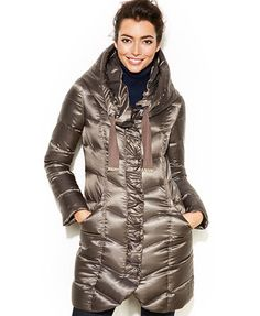 Tahari Hooded Pillow-Collar Quilted Packable Puffer Coat - color Cask - Macys - on sale $135