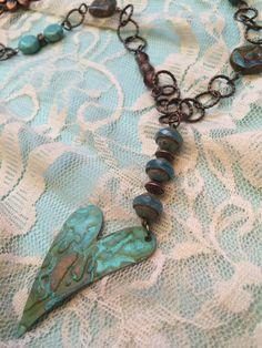 copper verdigris heart pendant copper heart necklace by Bedotted