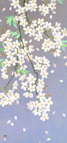 桜  2005年-36-野地美樹子 Japanese Painting, Japanese Art, Shades Of White, Cherry Blossoms, Cool Designs, Objects, Hair Accessories, Patterns, Illustration
