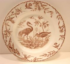 ANTIQUE VICTORIAN AESTHETIC BROWN TRANSFERWARE RIDGWAY INDUS DINNER PLATE BIRDS #RIDGWAY