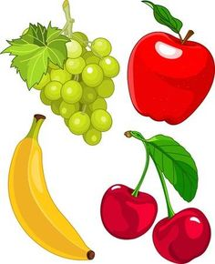 Illustration of Cartoon fruit set, include banana, grape, apple and cherry vector art, clipart and stock vectors. Art For Kids, Crafts For Kids, Vegetable Cartoon, Fruit Icons, Cottage Art, Fruit Painting, Banner Printing, Fruit Art, Cartoons
